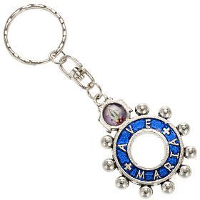 Portachiavi anello smalto blu Ave Maria (inglese) s1
