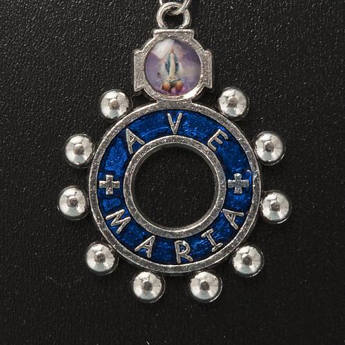 Portachiavi anello smalto blu Ave Maria (inglese) 2