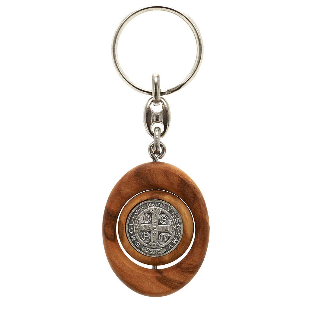 St. Benedict revolving medal key-ring oval shaped 3