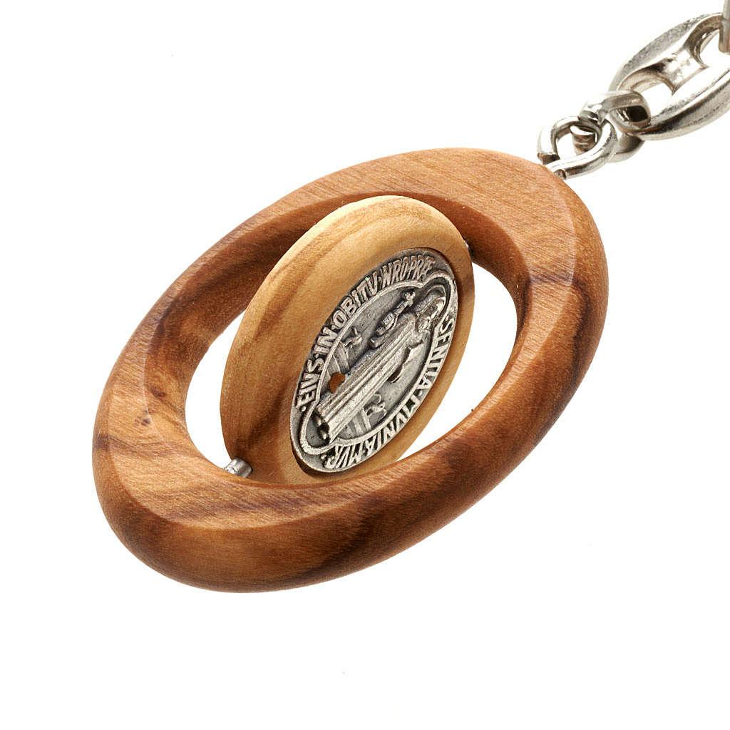 Brelok drewno oliwne owalny święty Benedykt 3