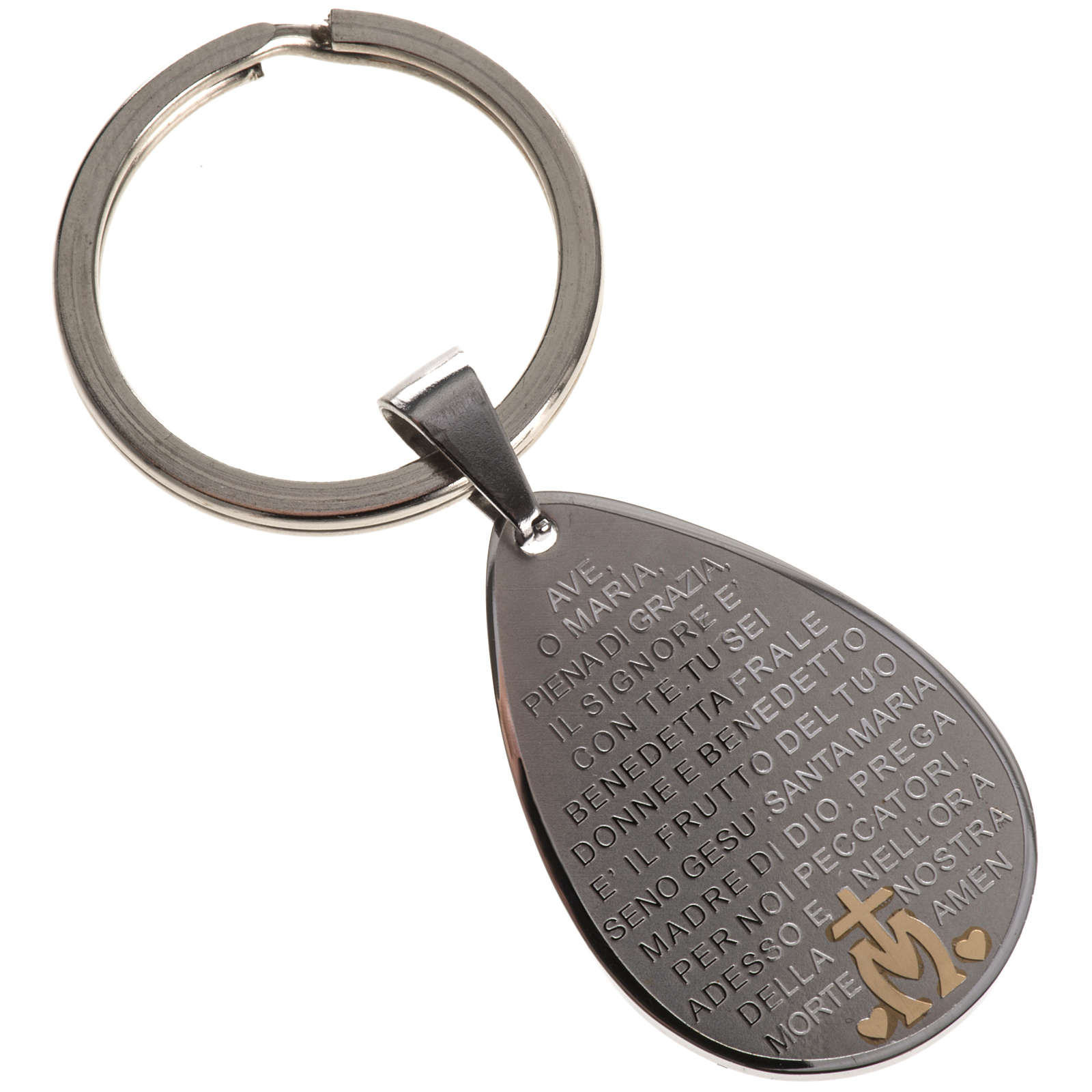 Hail Mary prayer key ring drop shaped 3
