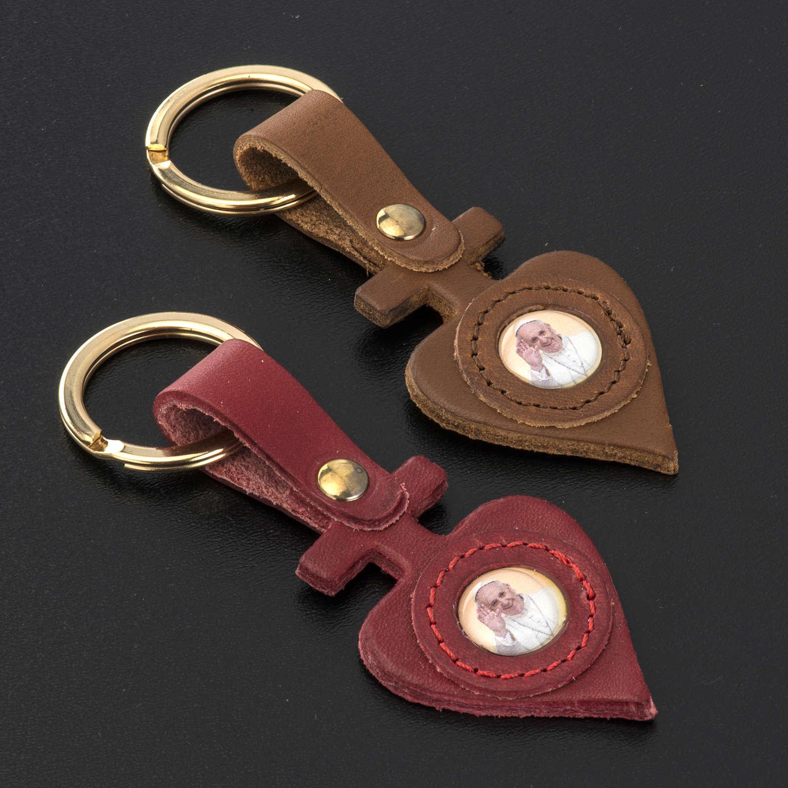 Schlüsselanhänger aus Leder herzförmig Papst Franziskus 3