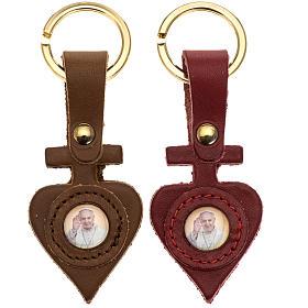 Schlüsselanhänger aus Leder herzförmig Papst Franziskus s1