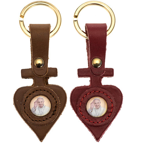 Porte clé cuir Pape Francois coeur 1