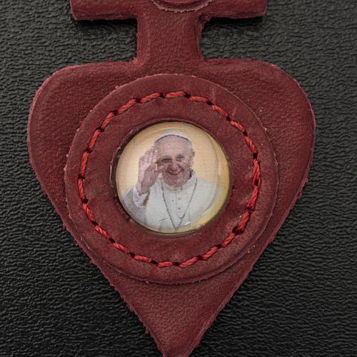 Porte clé cuir Pape Francois coeur 3