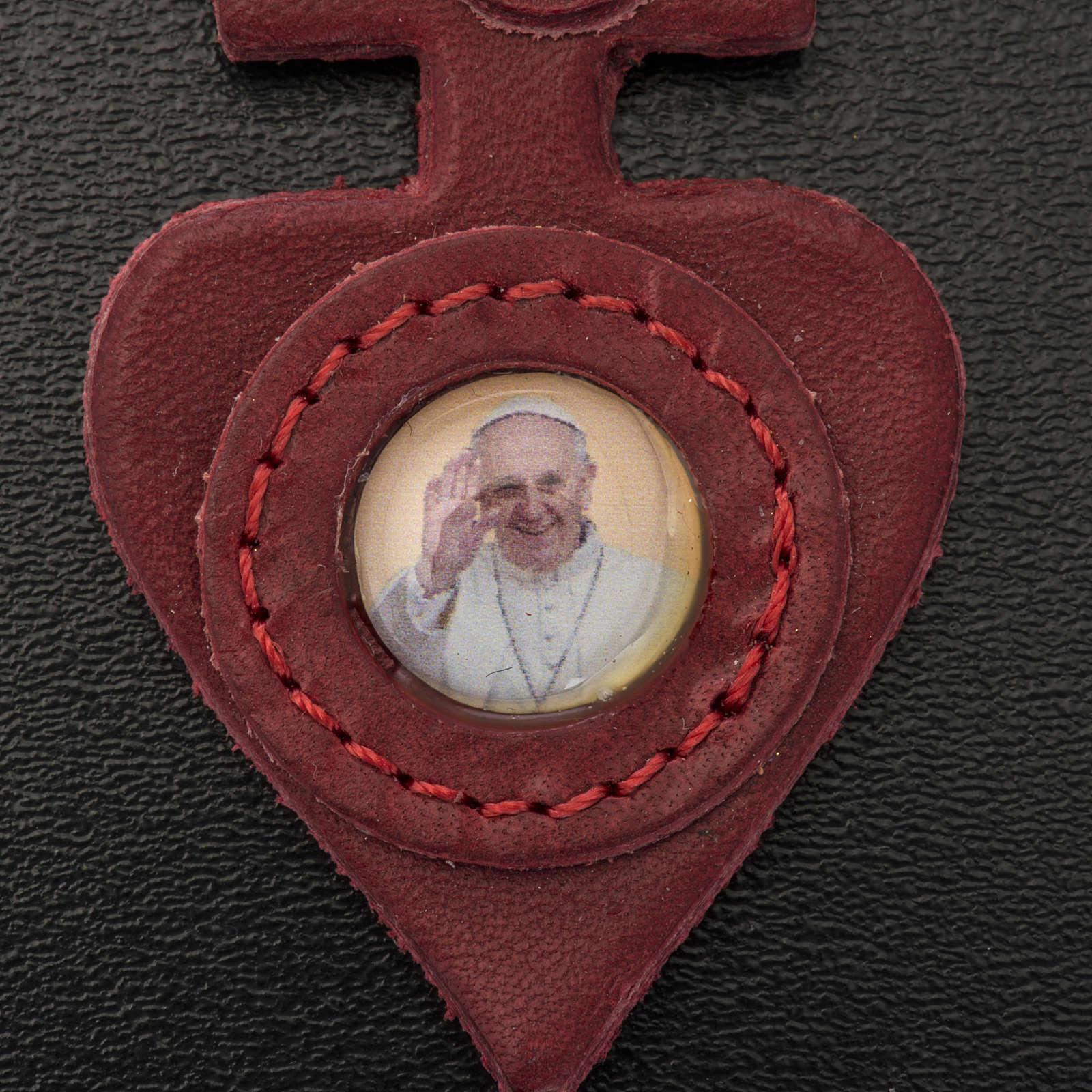 Chaveiro couro coração Papa Francisco 3