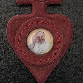 Chaveiro couro coração Papa Francisco s3