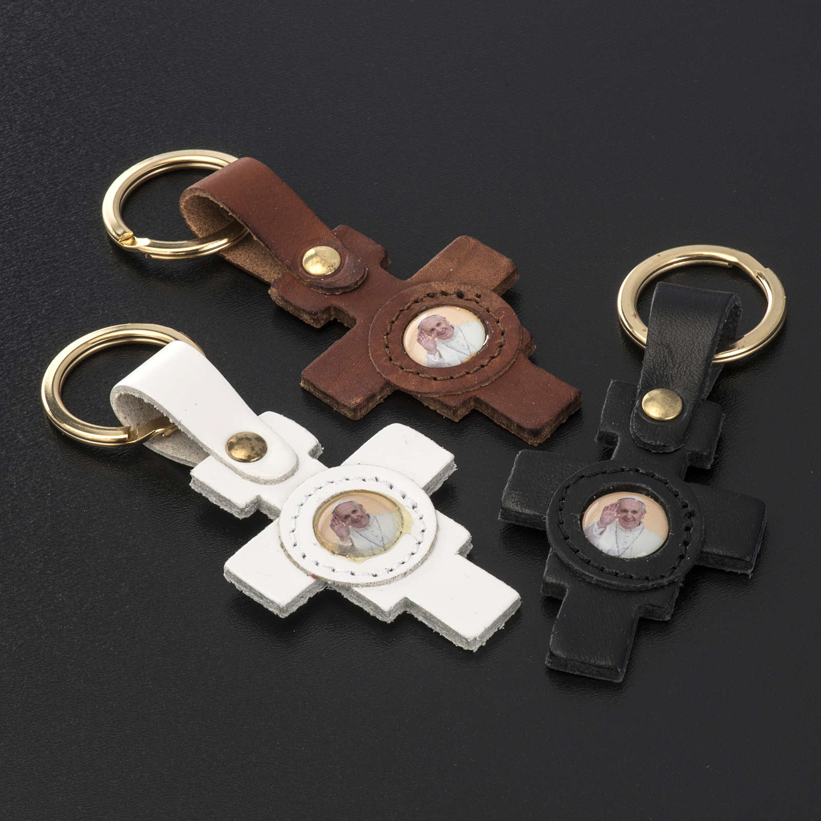 Pope Francis key ring cross shaped 3