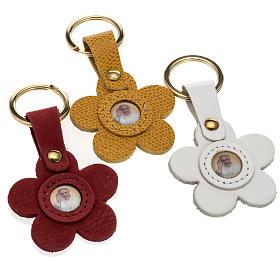 Porte clé cuir Pape Francois fleur s1