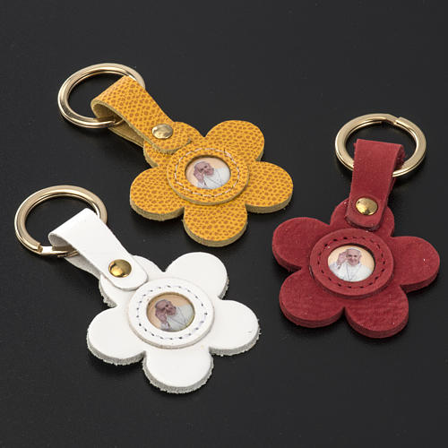 Porte clé cuir Pape Francois fleur 2