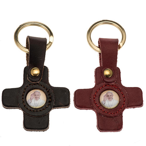Pope Francis key ring in leather cross shaped 1