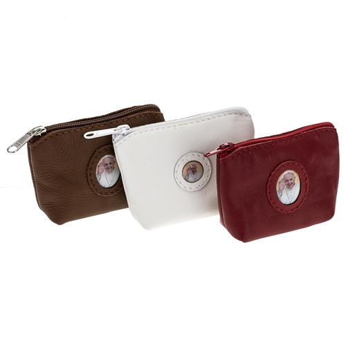 Portarosario pelle borsetta Papa Francesco 1