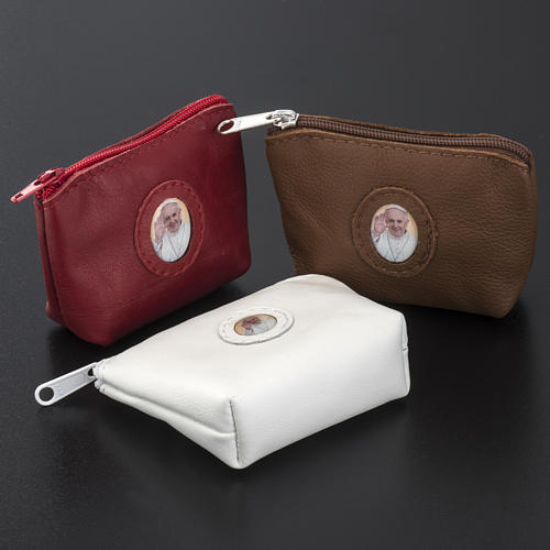 Rosary case, bag shaped, with Pope Francis 2
