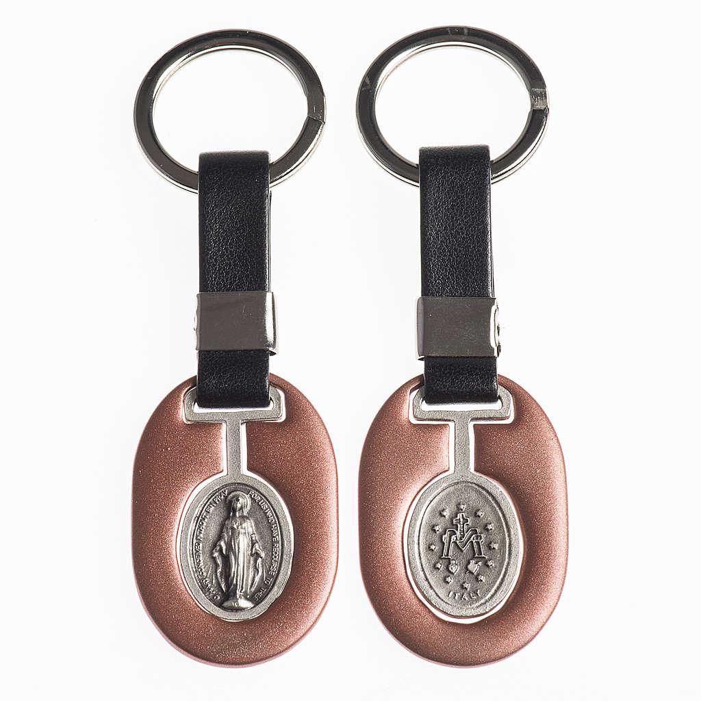 Porte clef Vierge Miraculeuse métal avec bande 3