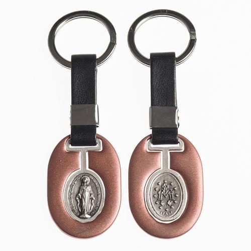 Porte clef Vierge Miraculeuse métal avec bande 1