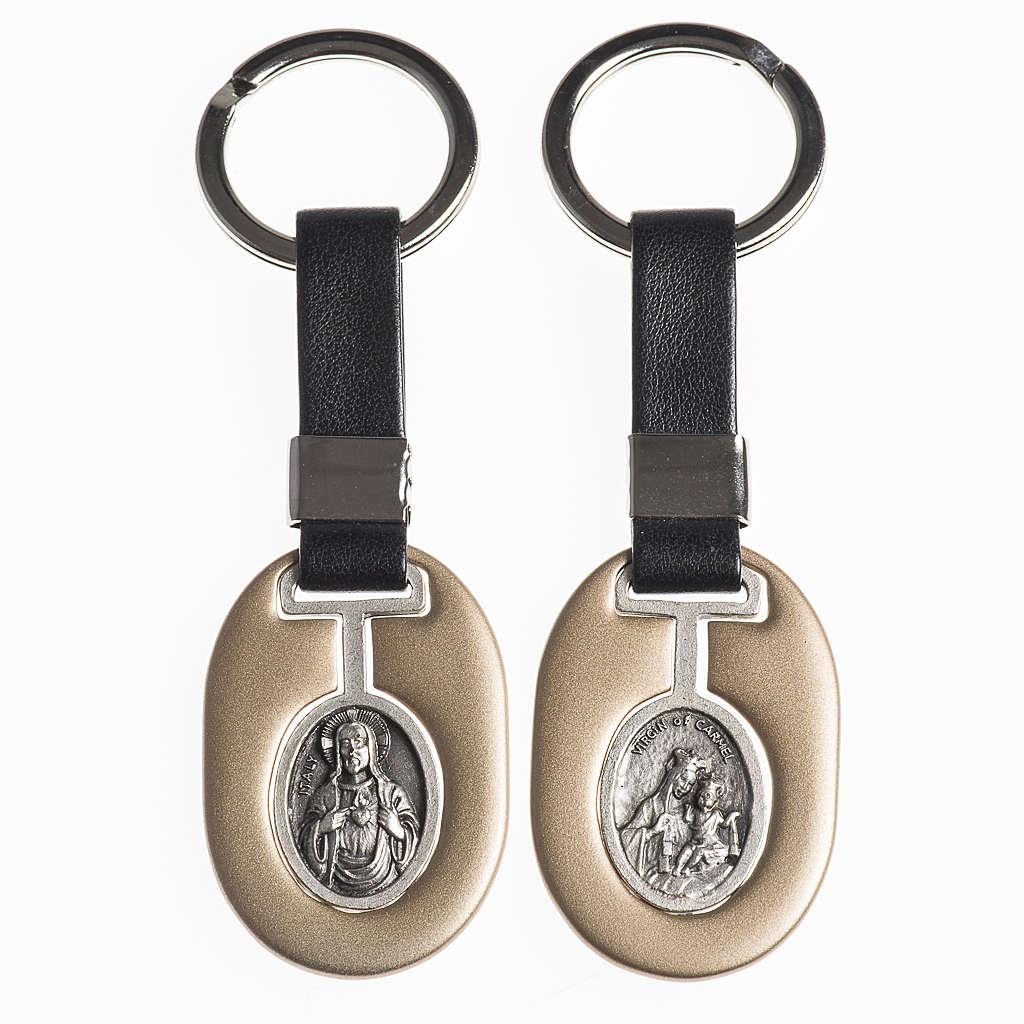 Keychain in metal with Sacred Heart of Jesus and Virgo Carmeli 3