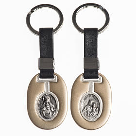 Keychain in metal with Sacred Heart of Jesus and Virgo Carmeli s1
