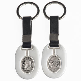 Keychain in metal and fake leather, Pope Benedict XVI s1