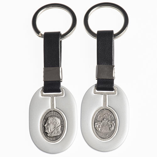 Keychain in metal and fake leather, Pope Benedict XVI 1