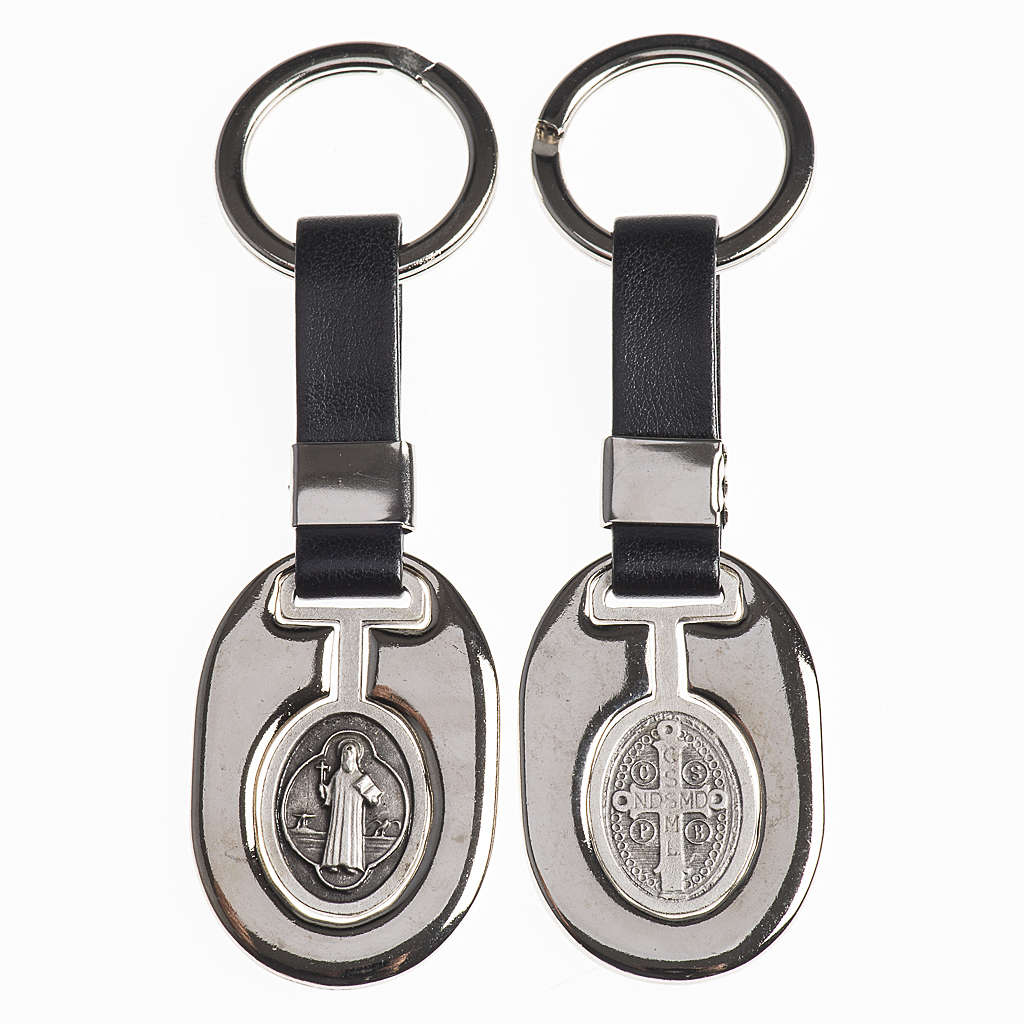 Keychain in metal and fake leather, Saint Benedict 3