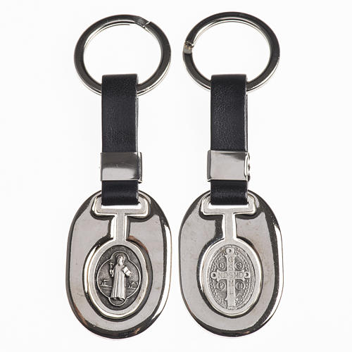 Keychain in metal and fake leather, Saint Benedict 1