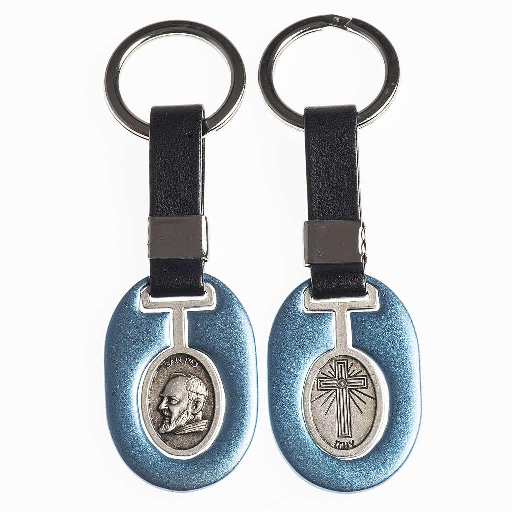 Porte clef Père Pio métal avec bande 3