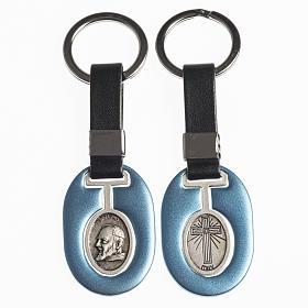 Portachiavi metallo Padre Pio con fascetta similpelle s1