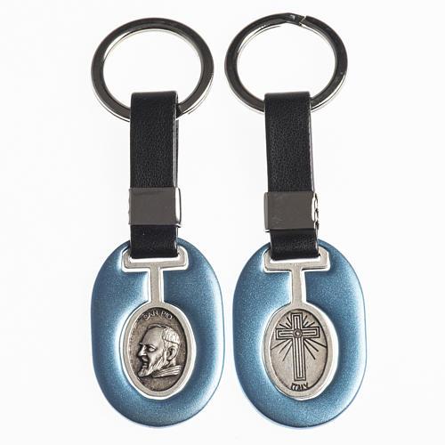 Portachiavi metallo Padre Pio con fascetta similpelle 1