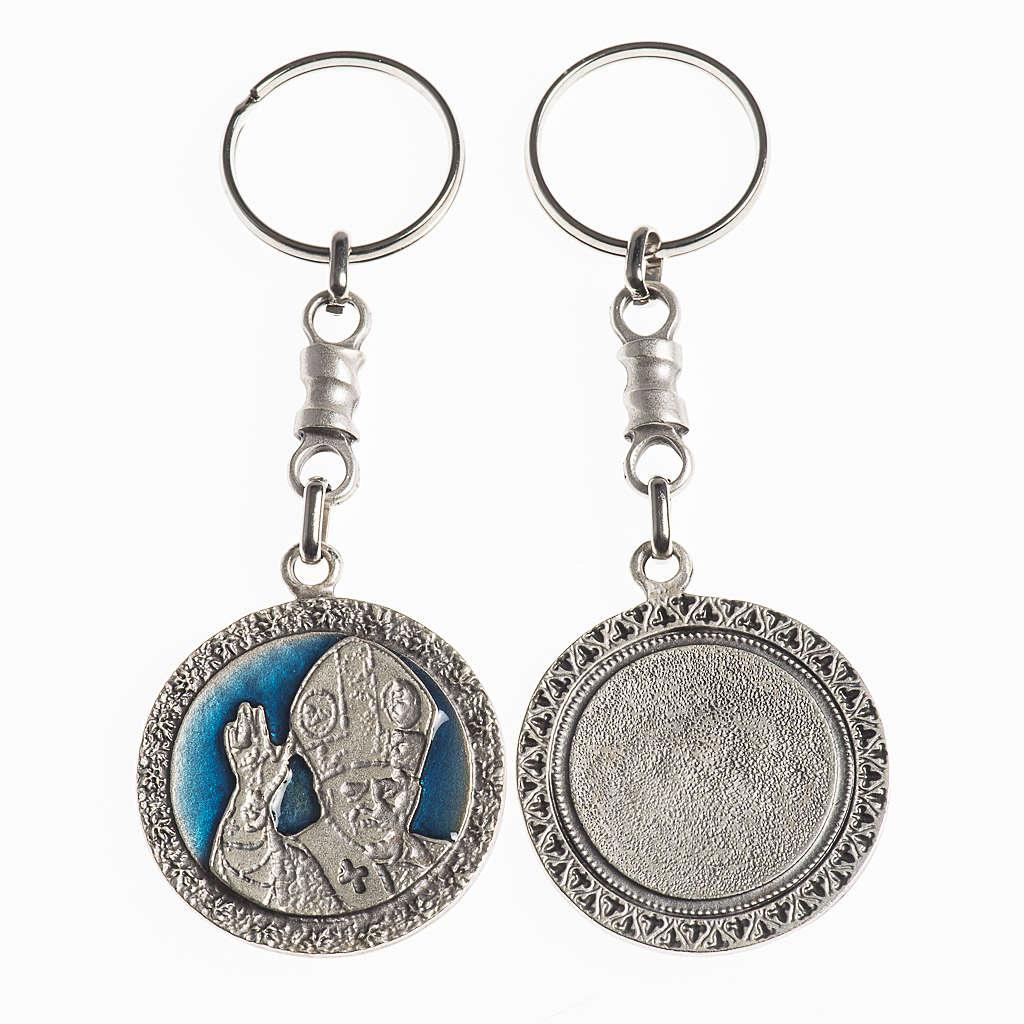 Portachiavi Papa Benedetto XVI diam. 38 mm galvanica argento ant 3