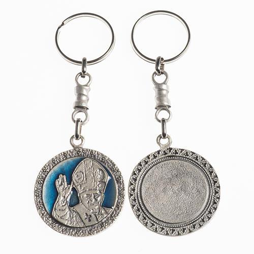Portachiavi Papa Benedetto XVI diam. 38 mm galvanica argento ant 1