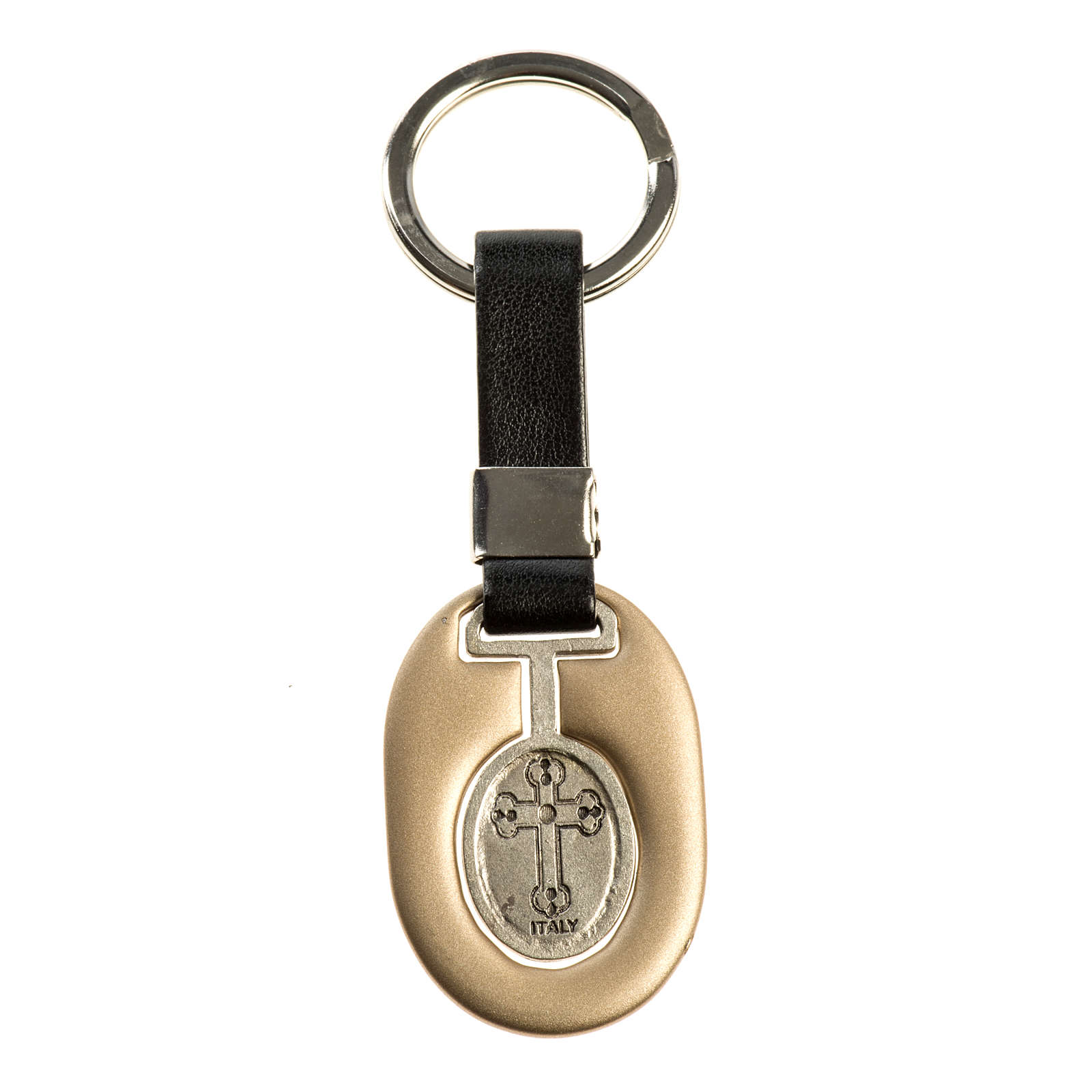 Saint Christopher keychain in ivory zamak and fake leather 3