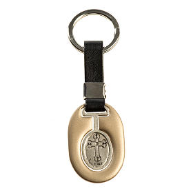 Saint Christopher keychain in ivory zamak and fake leather s2