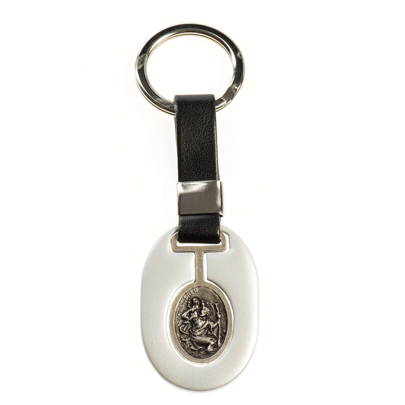 Saint Christopher keychain in grey zamak and fake leather 3