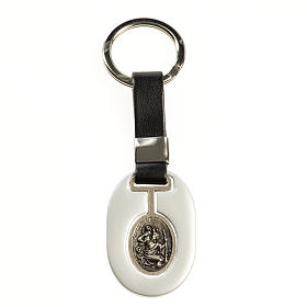 Saint Christopher keychain in grey zamak and fake leather s1