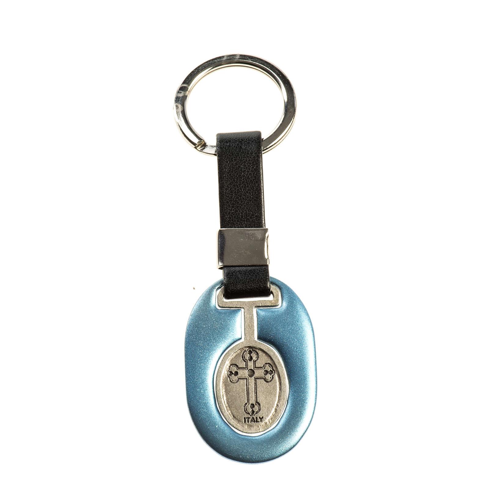 Portachiavi San Cristoforo zama azzurro similpelle 3