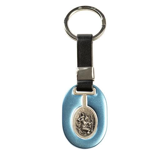 Portachiavi San Cristoforo zama azzurro similpelle 1