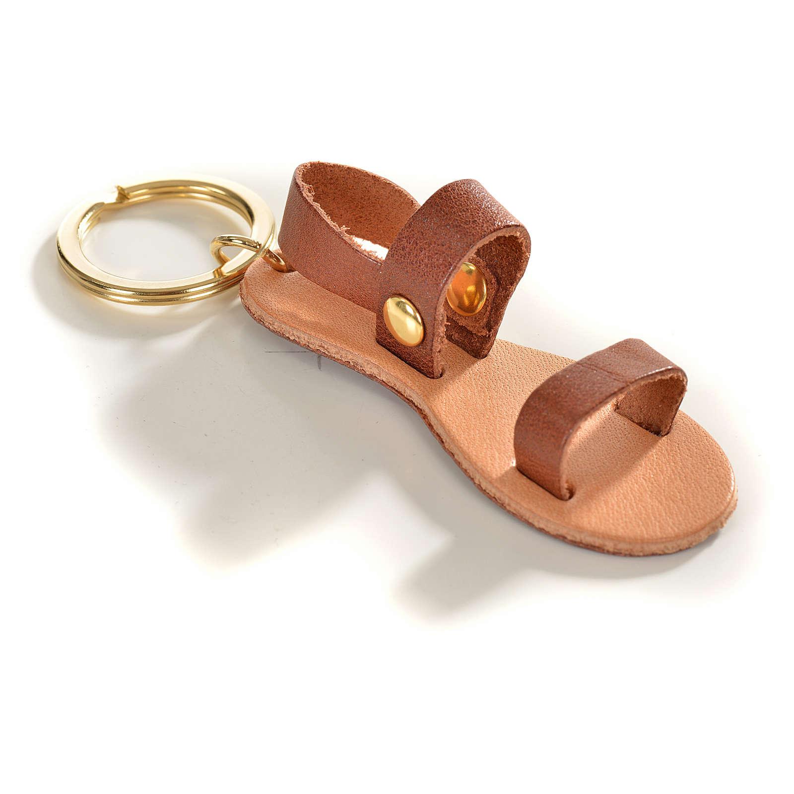 Llavero sandalia franciscana cuero verdadero 3