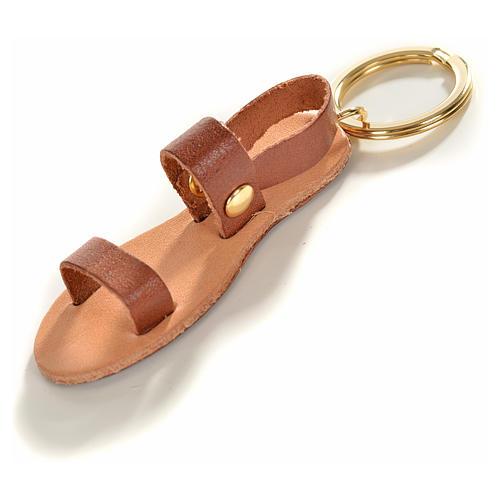 Chaveiro sandália franciscana couro verdadeiro 1