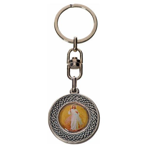 Porte-clé Jésus Miséricordieux rond zamac 1