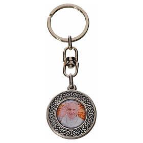 Schlüsselanhänger mit Bild Papst Franziskus rund Zamak s1
