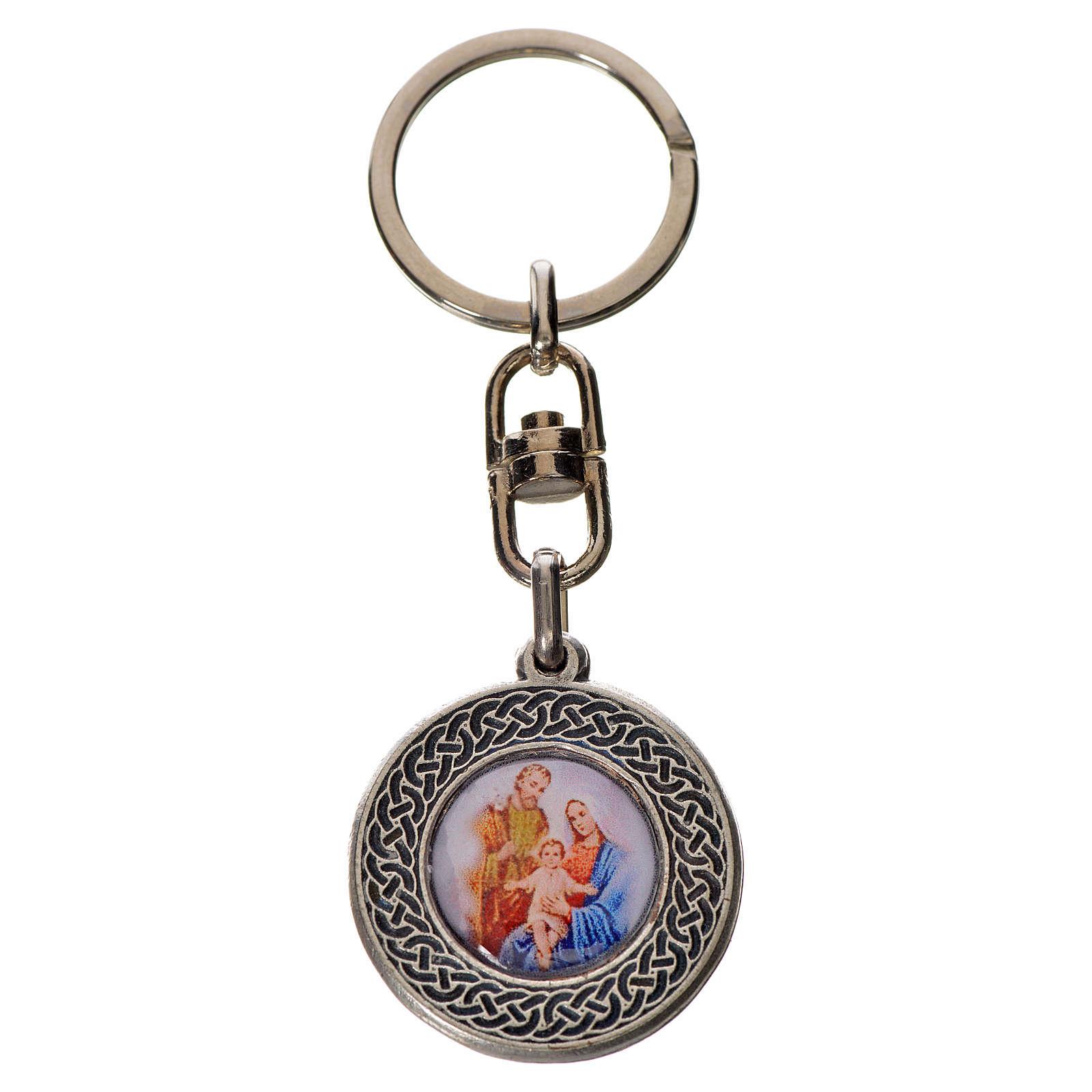 Keychain with Holy Family in zamak, round 3