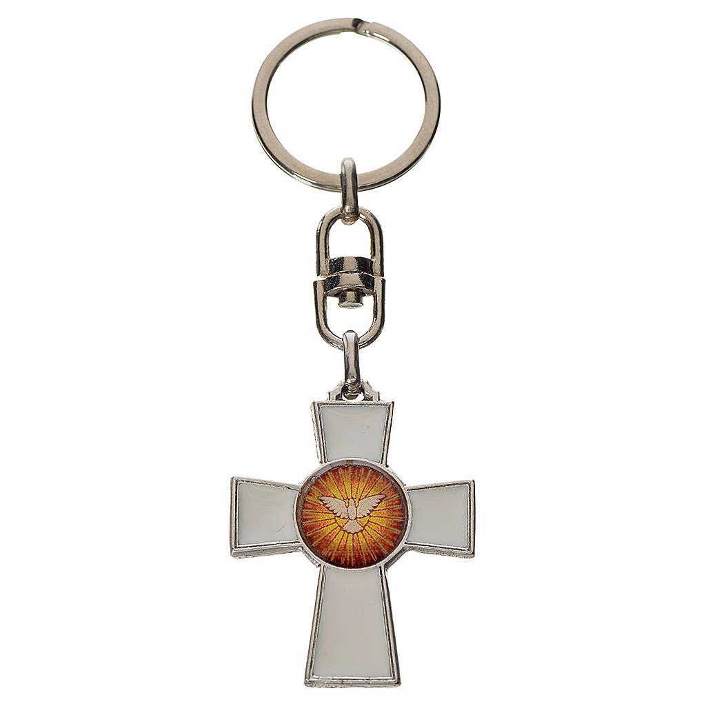 Llavero cruz Espíritu Santo zamak esmalte blanco 3
