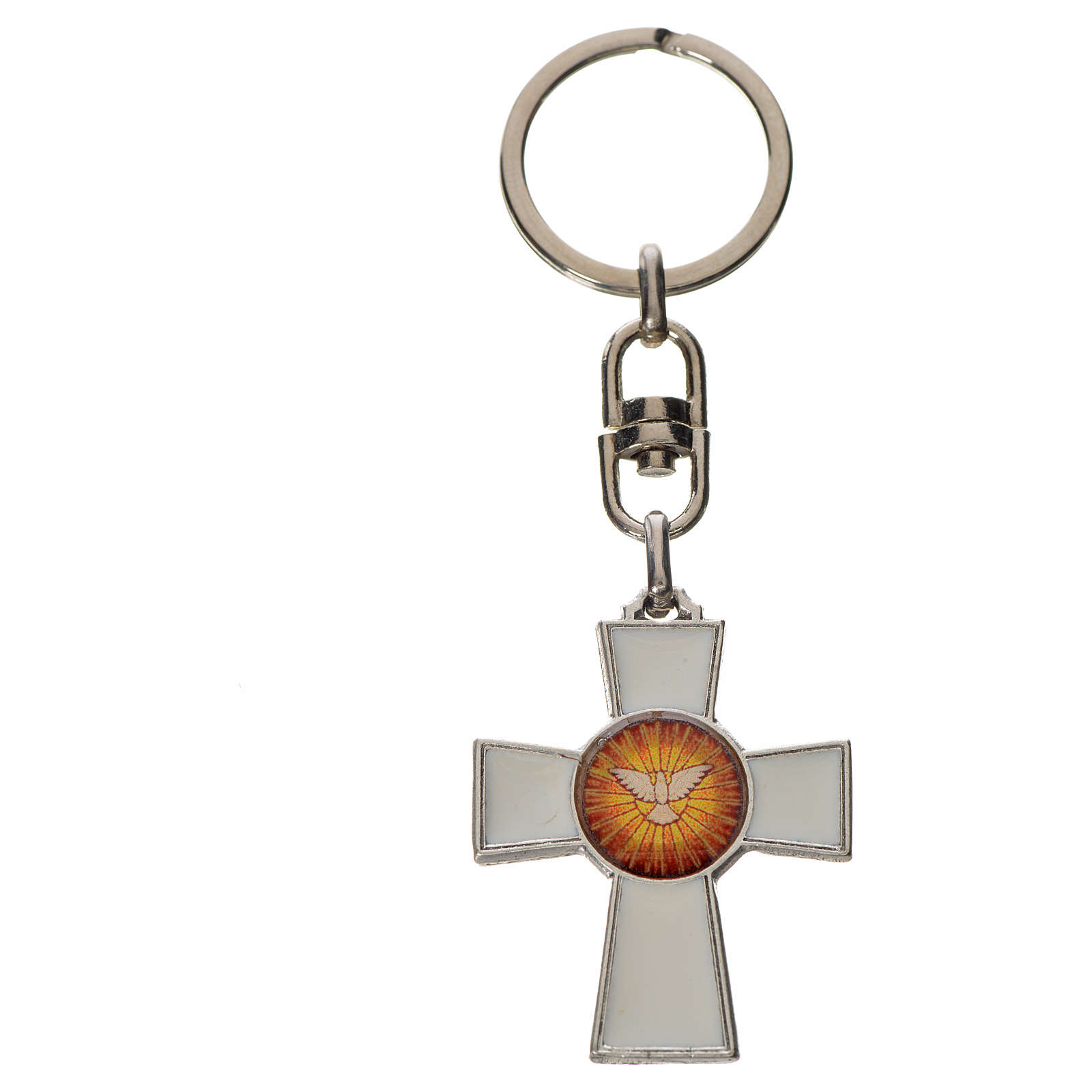 Keychain with Holy Spirit cross medal, zamak white enamel 3