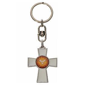 Keychain with Holy Spirit cross medal, zamak white enamel s1