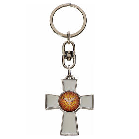 Keychain with Holy Spirit cross medal, zamak white enamel s1