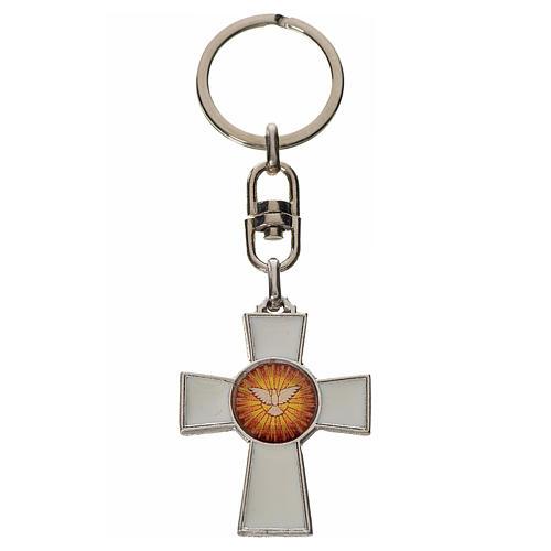 Keychain with Holy Spirit cross medal, zamak white enamel 1