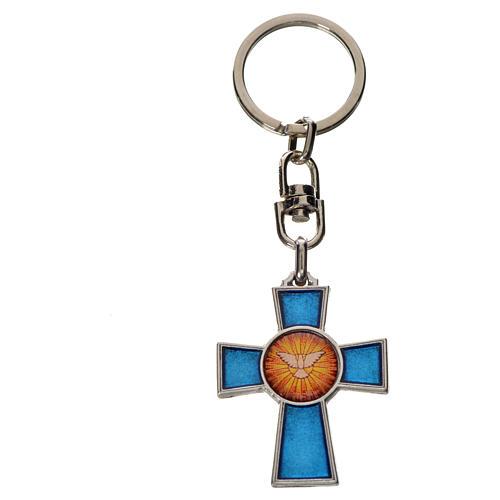 Llavero cruz Espíritu Santo zamak esmalte azul 2