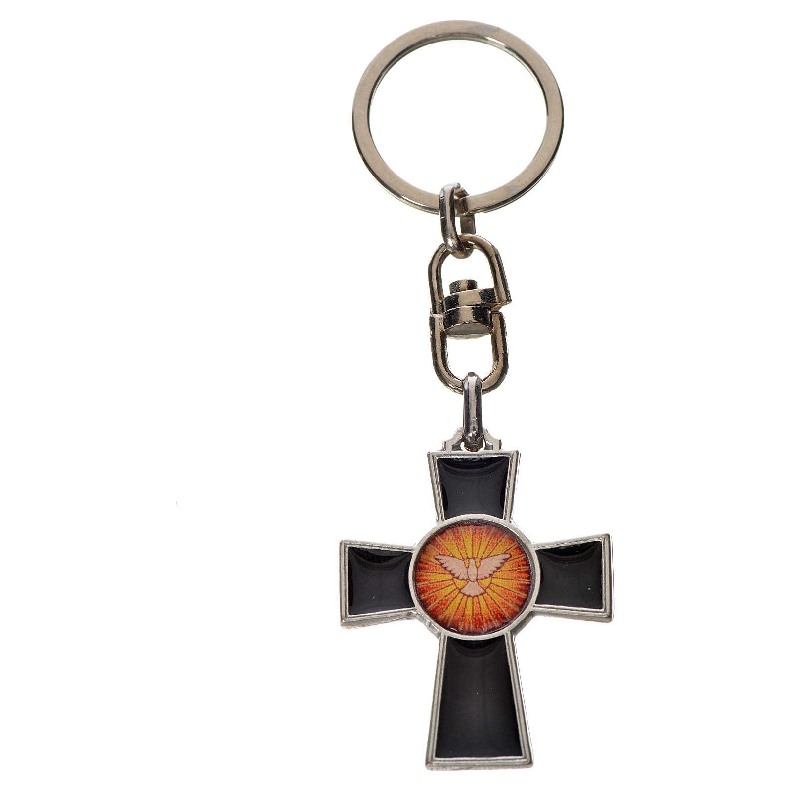 Porte-clé croix Saint Esprit zamac émail noir 3