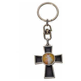 Porte-clé croix Saint Esprit zamac émail noir s4