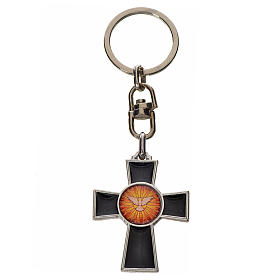 Porte-clé croix Saint Esprit zamac émail noir s1